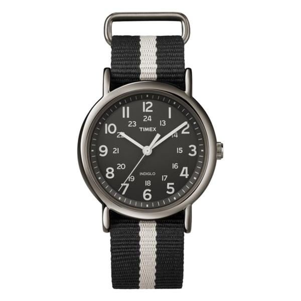 Timex T2N889KW Unisex Weekender Slip Thru Black/ Grey Stripe Nylon Strap Watch