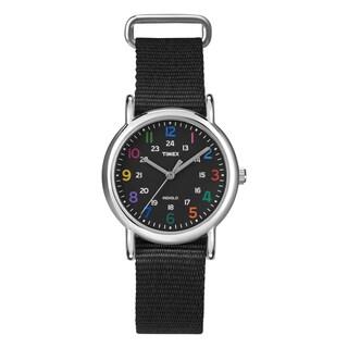 Timex Women's T2N8699J Weekender Slip-thru Black Nylon Strap Watch