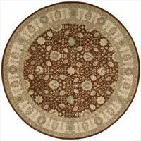 Nourison 3000 Hand-tufted Rust Wool Rug Round - 6' x 6'