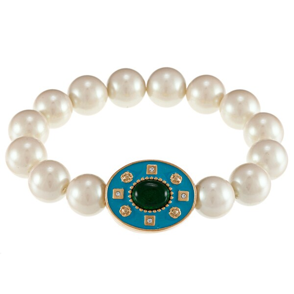 Carolee Crystal Faux Pearl Bracelet