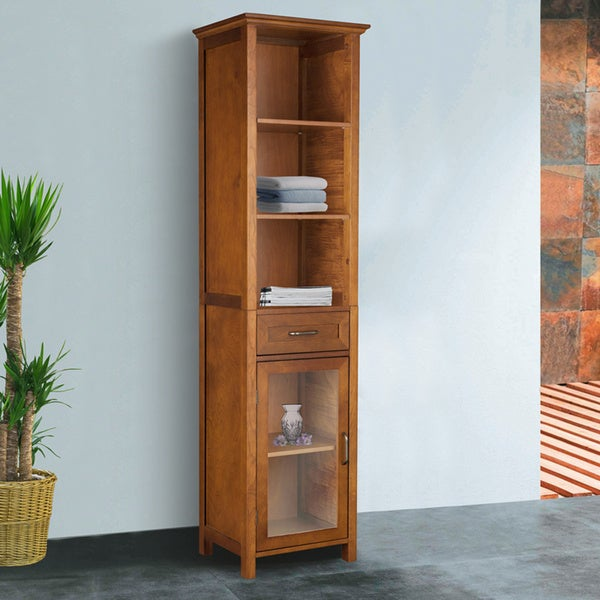 Chamberlain Oak-Finish Linen Tower Storage Cabinet by Essential Home Furnishings