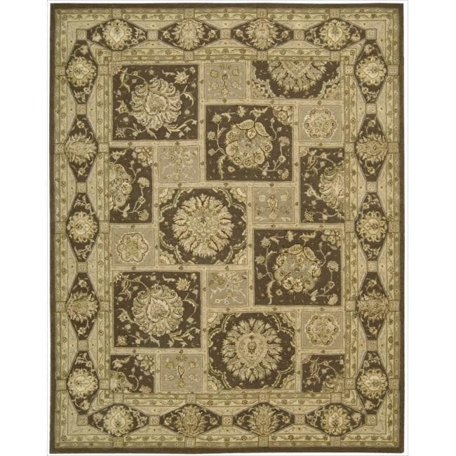 """Nourison 3000 Hand-Tufted Traditional Brown Floral Rug (3'9"""" x 5'9"""")"""