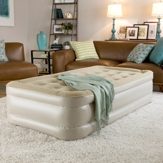 InstaBed Raised Queen Size Airbed With Never Flat Pump