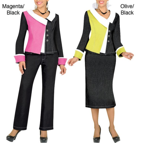 Divine Apparel Color Block Women's Plus Size 3-Piece Wardrobe