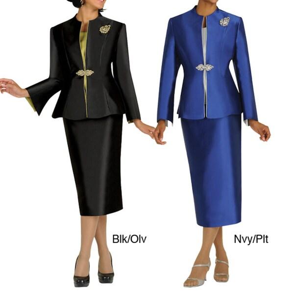 Divine Apparel Women's 3-piece Peek-a-boo Skirt Suit Set