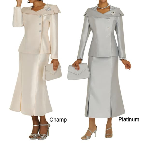 Divine Apparel Women's Structured Boat Neck Women's Skirt Suit
