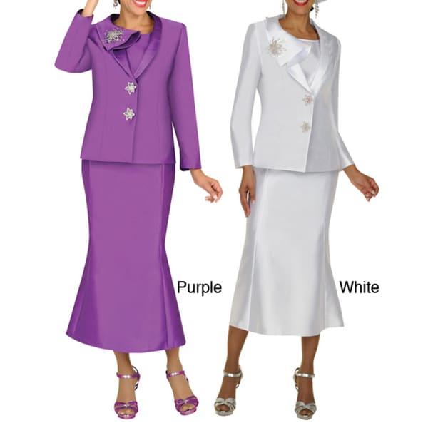 Divine Apparel Women's Asymetrical Collar Skirt Suit Set