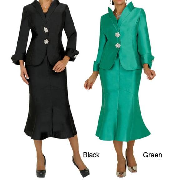 Divine Apparel Women's Modest Sprial Stone Detail Skirt Suit