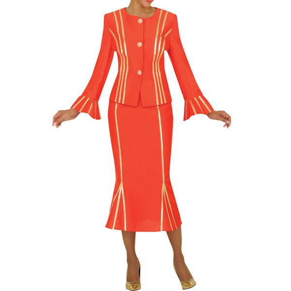 Divine Apparel Women's Gold Strap Detail Missy Skirt Suit