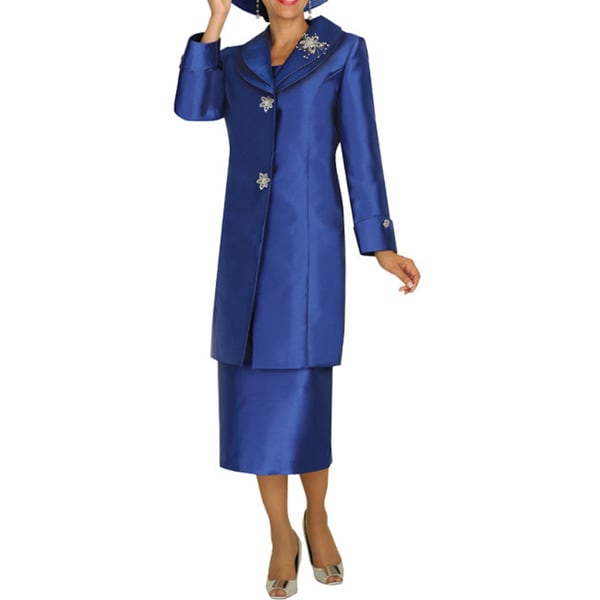 Divine Apparel Women's Plus Size Double Collar Long Jacket Skirt Suit