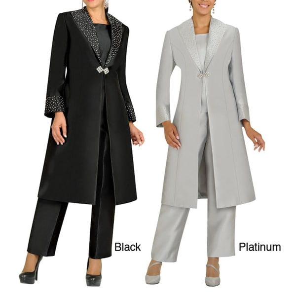 Shop Divine Apparel Embellished Duster Coat Missy Pant ...