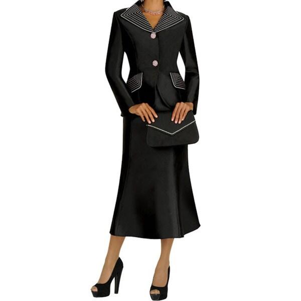 Divine Apparel Contrast Color Stitch Missy Skirt Suit