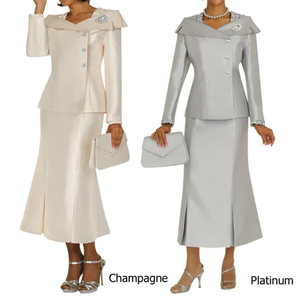 Divine Apparel Women's Structured Boat Neck Skirt Suit