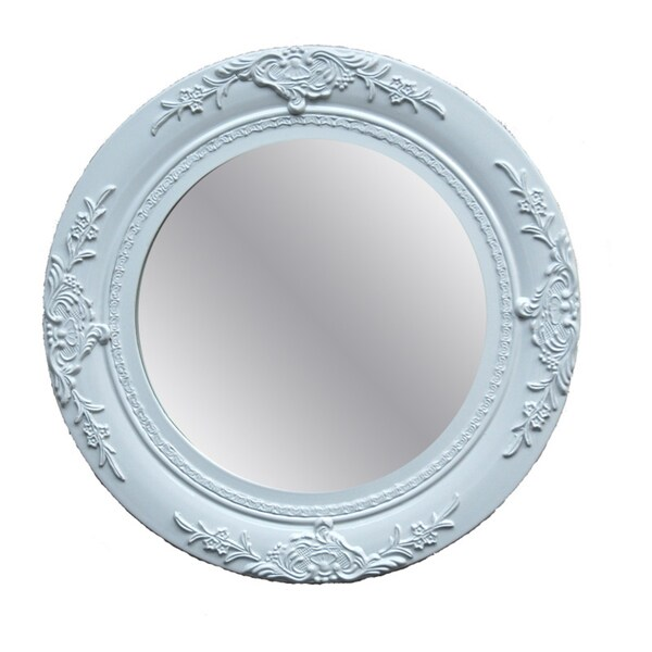 Traditional Glossy White Decorative Round Framed Mirror