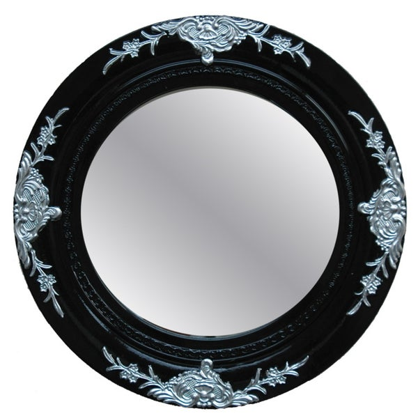 Traditional Glossy Black Decorative Round Framed Mirror