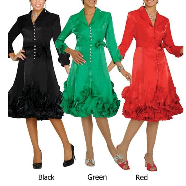 Divine Apparel Women's Ruffle Hem Jacket Dress