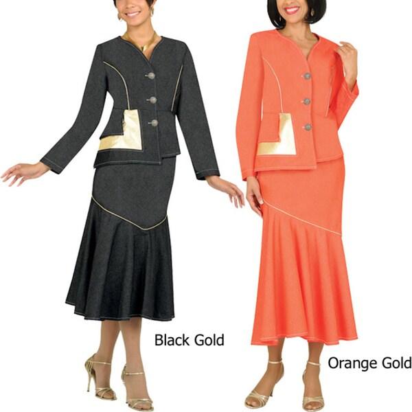 Divine Apparel Women's Plus Gold Trim Denim Suit