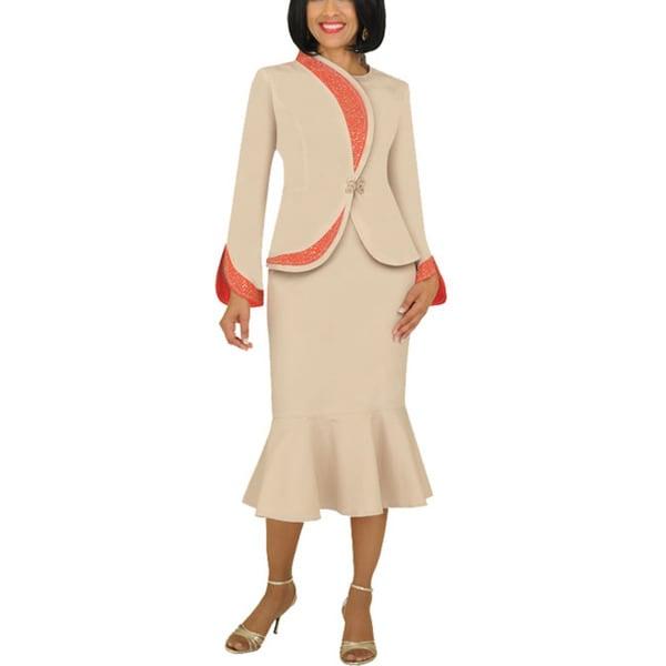 Divine Apparel Women's Plus Asymetrical Peplum Suit