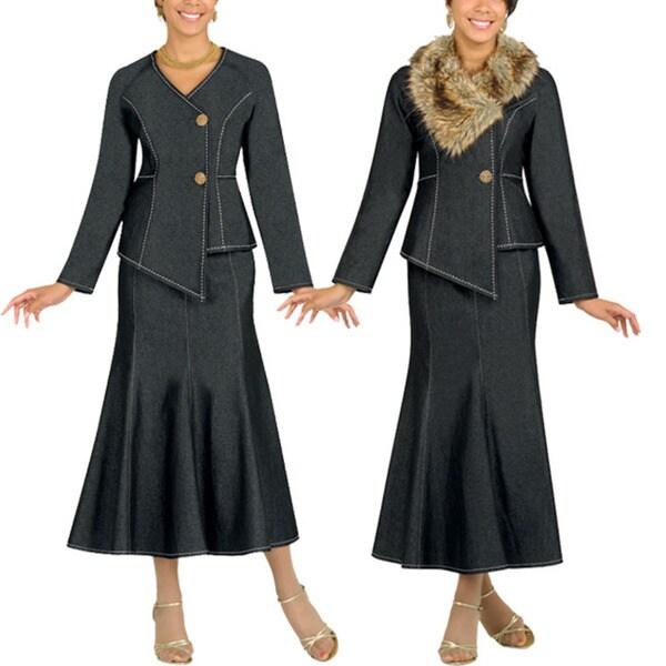 Divine Apparel Women's Fur Collar Black Denim Suit