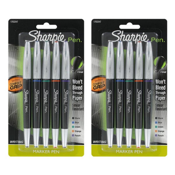 Sharpie Fine-point Assorted Ink 5-pack Stick Pens (Set of 2)
