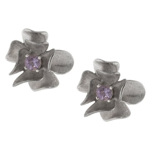 Sterling Silver Amethyst Matte Hibiscus Flower Earrings