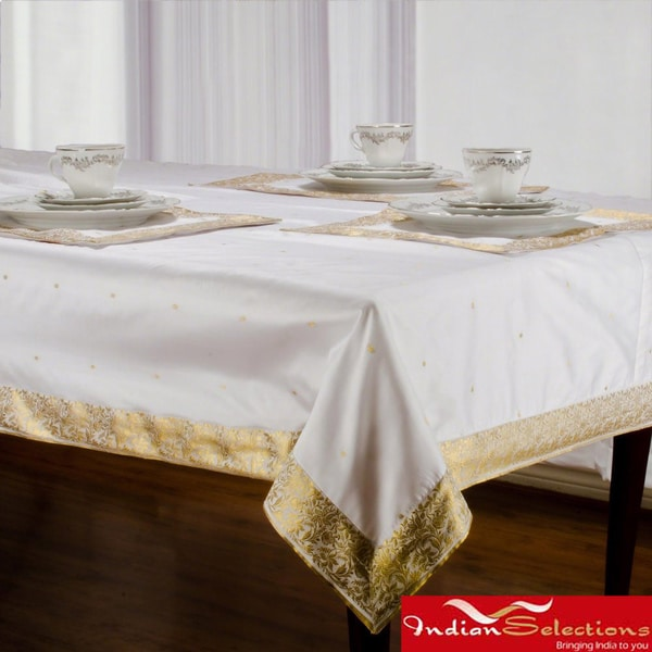 Handmade White Sari Table Cloth (India)