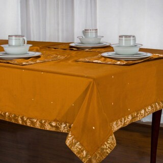 Handmade Mustard Sari Table Cloth (India) (Option: 52 Inches X 52 Inches - Square)
