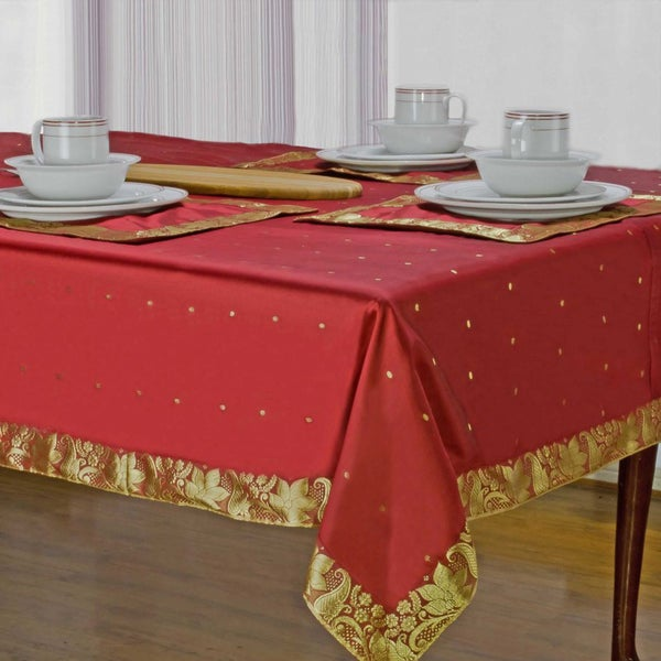 Handmade Fire Brick Sari Table Cloth (India)