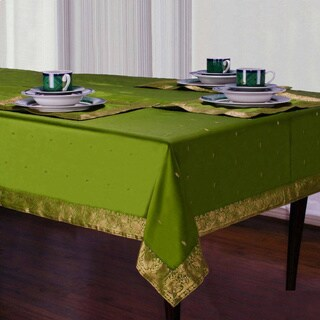 Handmade Forest Green Sari Table Cloth (India)