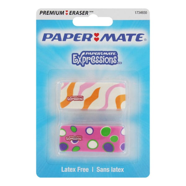 Papermate Expressions Premium Decorated Erasers (Pack of 12)