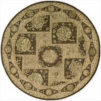 Nourison 3000 Hand-Tufted Brown Wool Rug (6' x 6' Round) - 6' x 6'