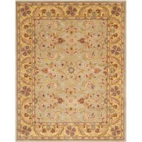 Safavieh Handmade Heritage Traditional Kerman Grey/ Gold Wool Rug - 4' x 6'