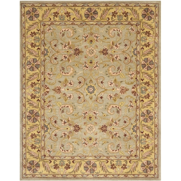 Safavieh Handmade Heritage Traditional Kerman Grey/ Gold Wool Rug (6' x 9')