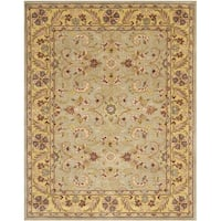 Safavieh Handmade Heritage Traditional Kerman Grey/ Gold Wool Rug - 6' x 9'
