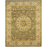 Safavieh Handmade Heritage Timeless Traditional Taupe/ Green Wool Rug - 9' x 12'