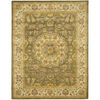 Safavieh Handmade Heritage Timeless Traditional Taupe/ Ivory Wool Rug - 9' x 12'