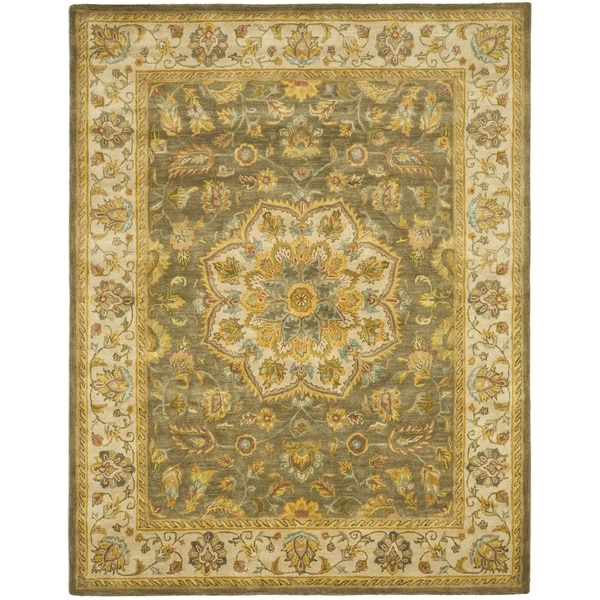 Safavieh Handmade Heritage Timeless Traditional Taupe/ Ivory Wool Rug (9' x 12')