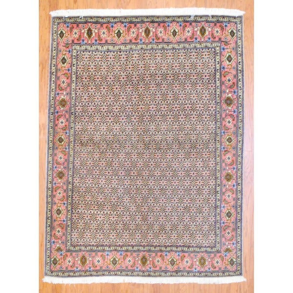 Persian Hand-knotted Tabriz Ivory/ Salmon Wool Rug (5' x 6'9)