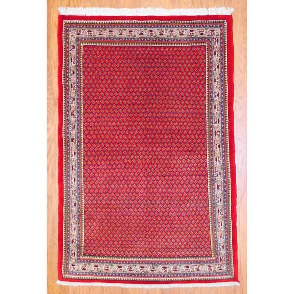Persian Hand-knotted Mir Red/ Ivory Wool Rug (4'4 x 6'7)