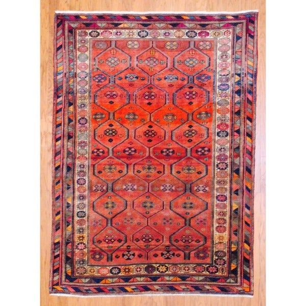 Persian Hand-knotted Hamadan Red/ Ivory Wool Rug (4'9 x 6'7)
