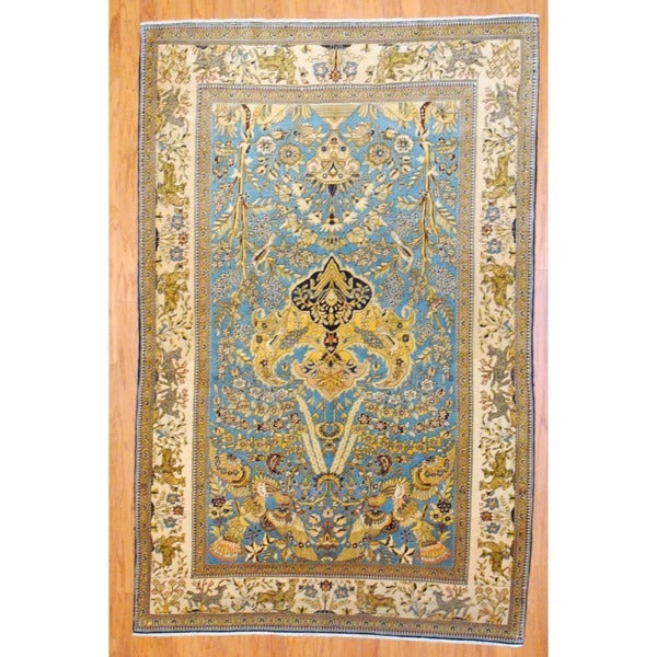 Persian Hand-knotted Isfahan Light Blue/ Ivory Wool Rug (5'2 x 8'1)