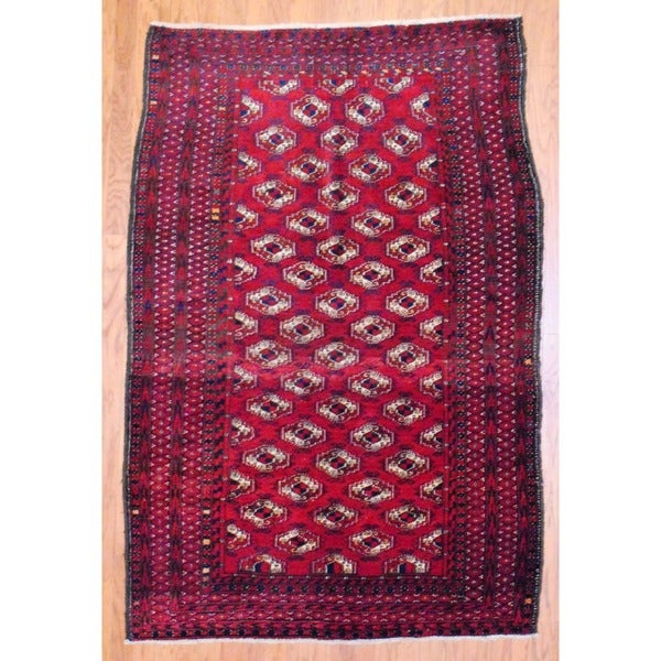 Antique 1920s Persian Hand-knotted Balouchi Red/ Navy Wool Rug (4'7 x 7')