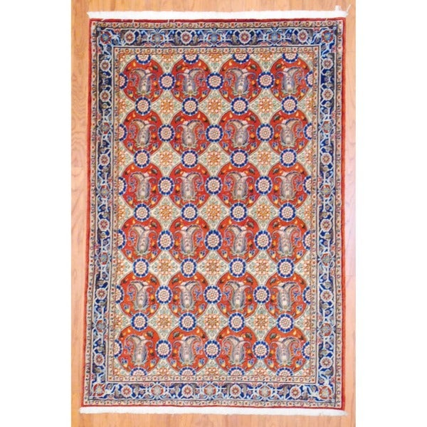 Persian Hand-knotted Sarouk Rust/ Navy Wool Rug (4' x 6'8)