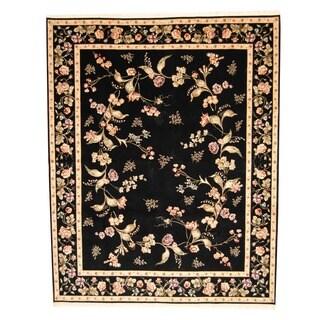 Herat Oriental Sino Hand-knotted Aubusson Black/ Beige Wool/ Silk Rug (8' x 10')