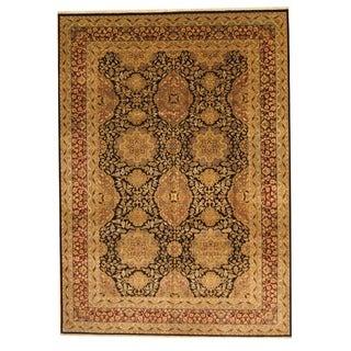 Herat Oriental Sino Hand-knotted Tabriz Black/ Burgundy Wool Rug (8' x 10')