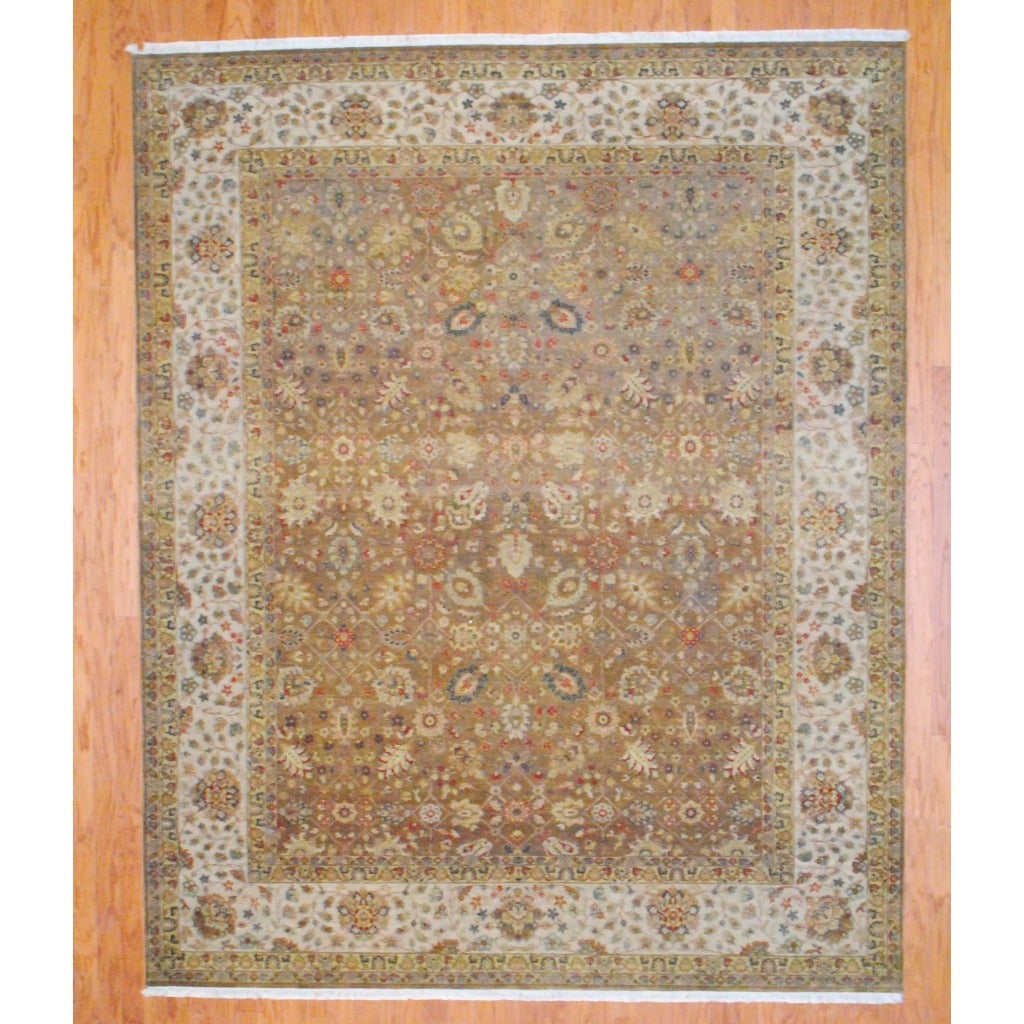 Herat Oriental Sino Hand-knotted Oushak Brown/ Ivory Wool Rug (8' x 10')