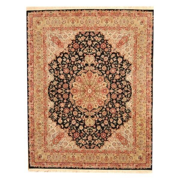 Herat Oriental Sino Hand-knotted Tabriz Black/ Gold Wool/ Silk Rug (8' x 10')