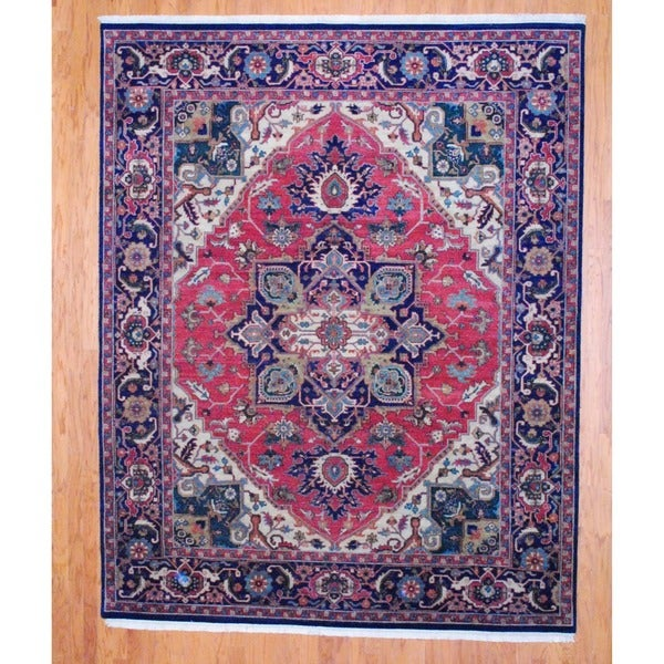 Indo Hand-knotted Heriz Rust/ Navy Wool Rug (8' x 10')