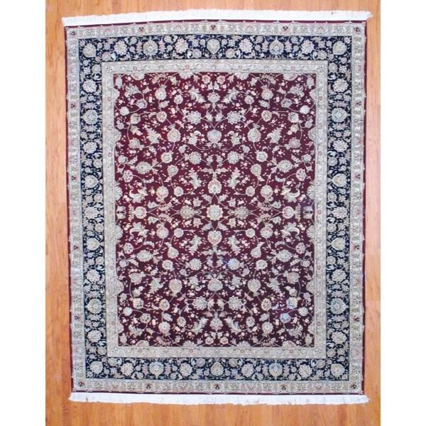 Sino Hand-knotted Tabriz Burgundy/ Black Wool/Silk Rug (8' x 10')