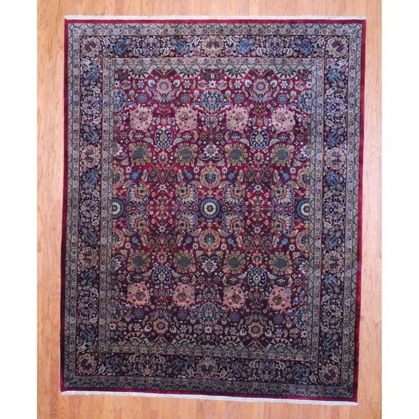 Indo Hand-Knotted Traditional Sarouk Burgundy/Black Wool Rug (8' x 10')
